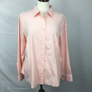 Talbots Peach Wrinkle Resistant Button Down Shirt